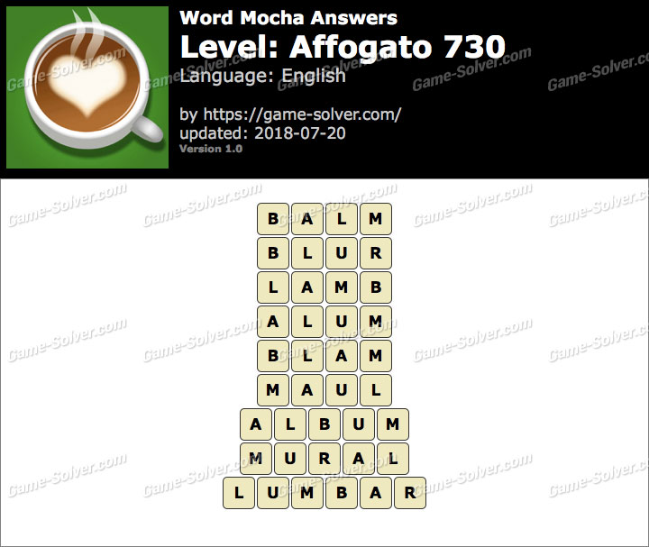 Word Mocha Affogato 730 Answers