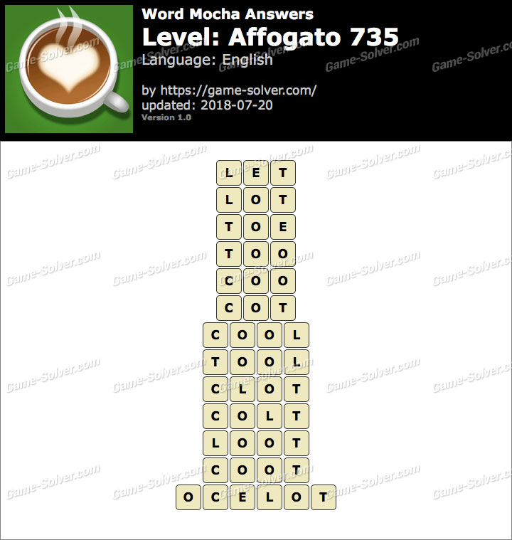 Word Mocha Affogato 735 Answers