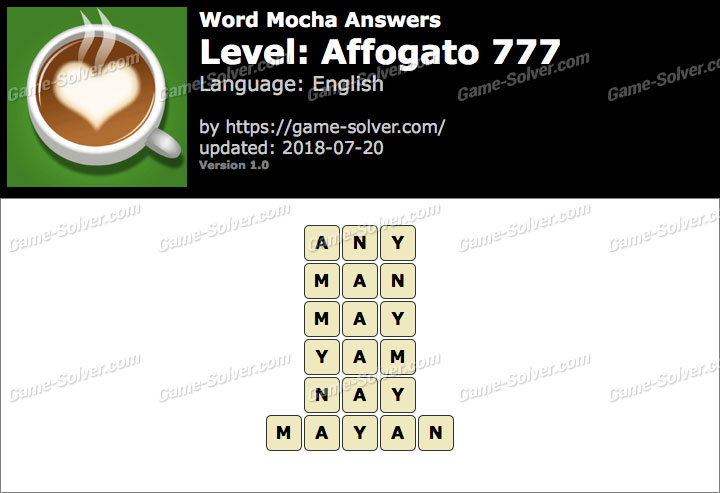 Word Mocha Affogato 777 Answers