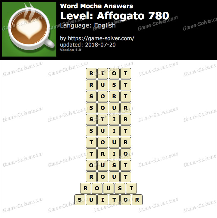 Word Mocha Affogato 780 Answers
