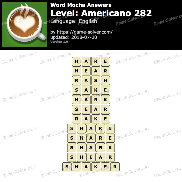 Word Mocha Americano 282 Answers