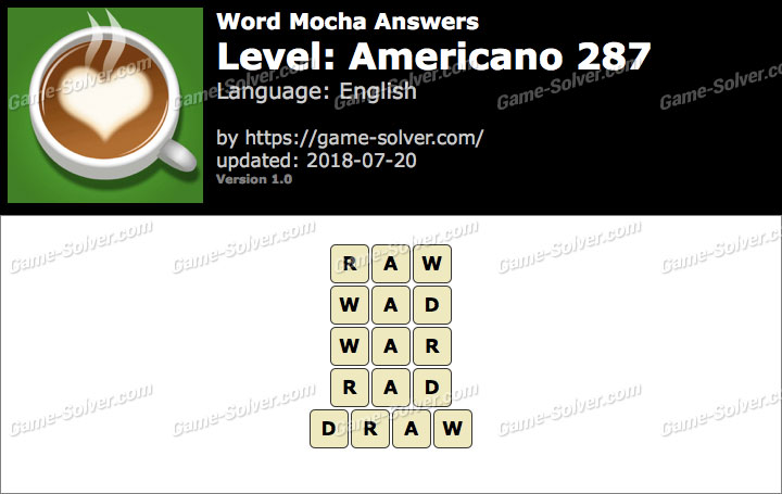 Word Mocha Americano 287 Answers