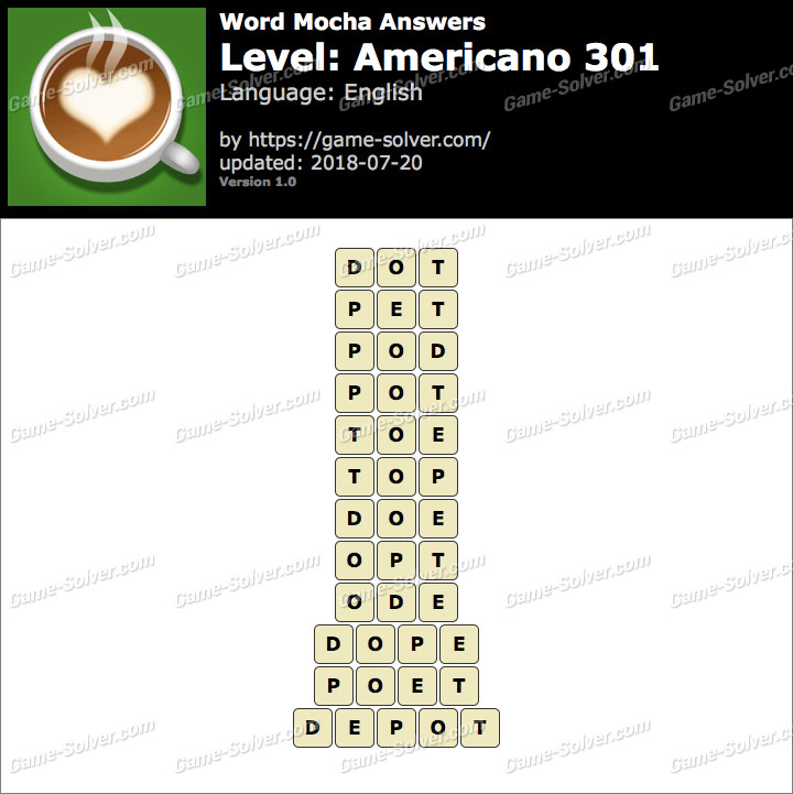 Word Mocha Americano 301 Answers