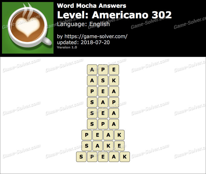Word Mocha Americano 302 Answers