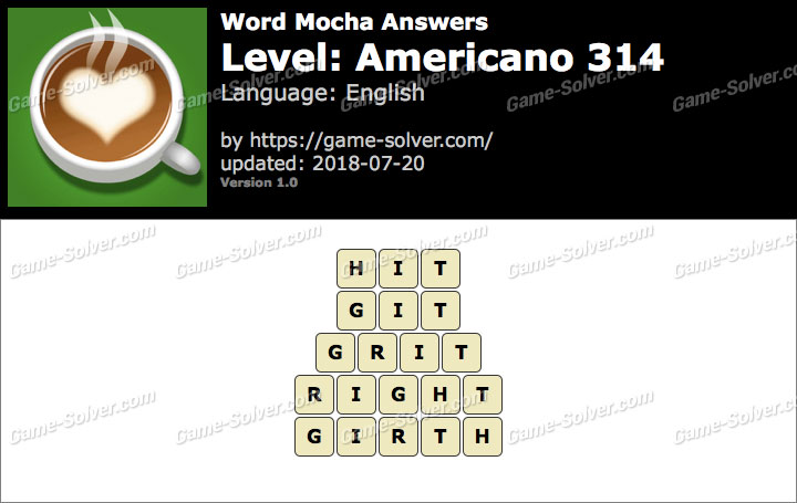 Word Mocha Americano 314 Answers