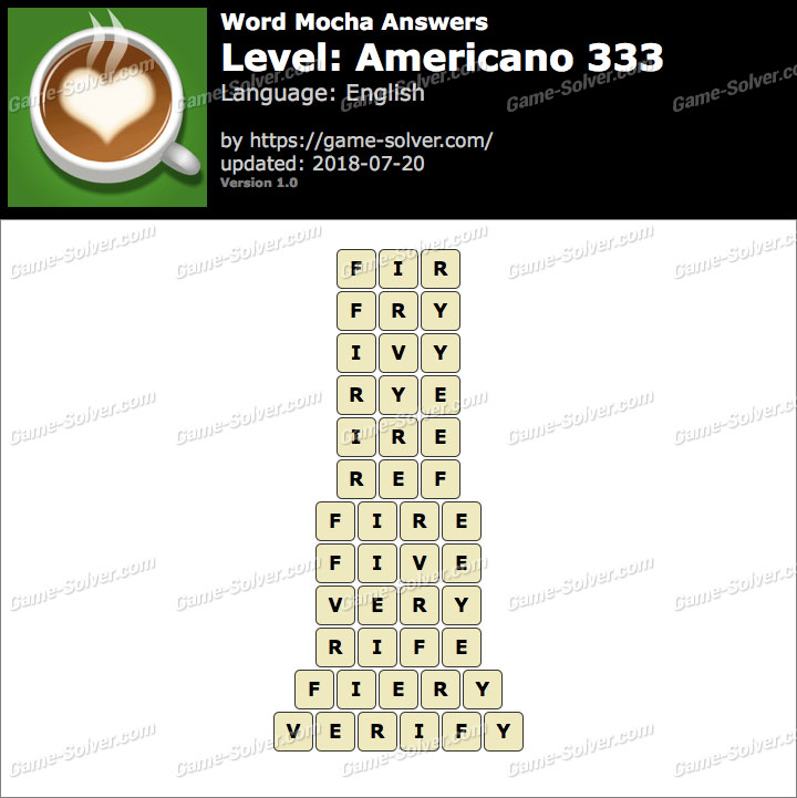 Word Mocha Americano 333 Answers