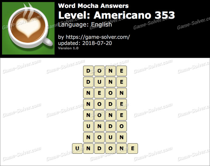 Word Mocha Americano 353 Answers