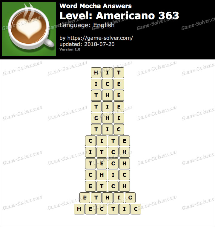 Word Mocha Americano 363 Answers