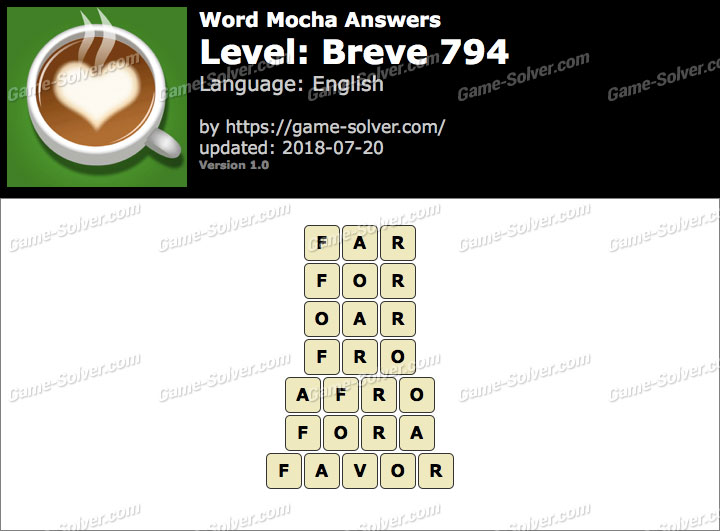 Word Mocha Breve 794 Answers