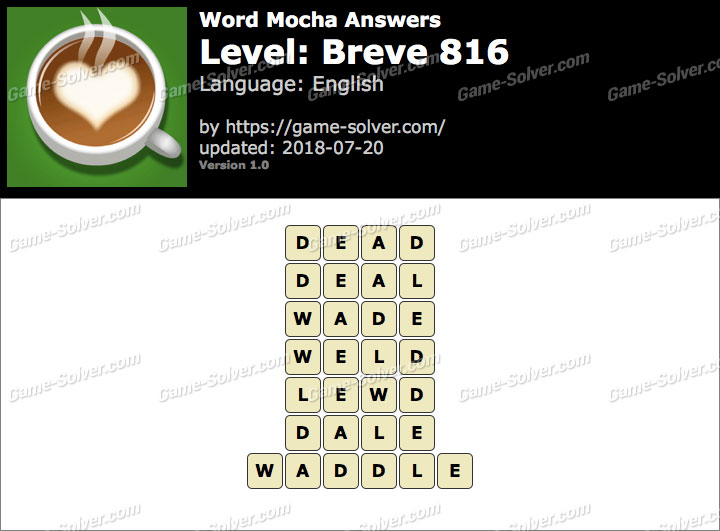 Word Mocha Breve 816 Answers
