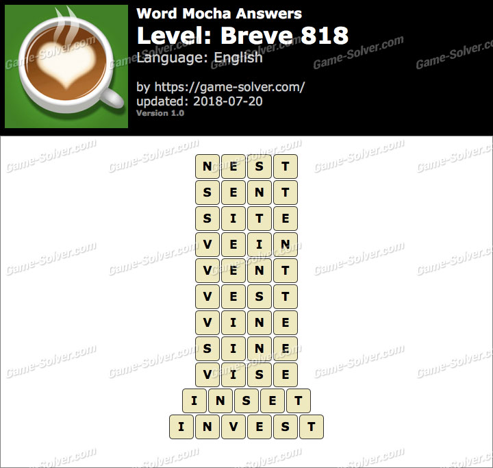 Word Mocha Breve 818 Answers