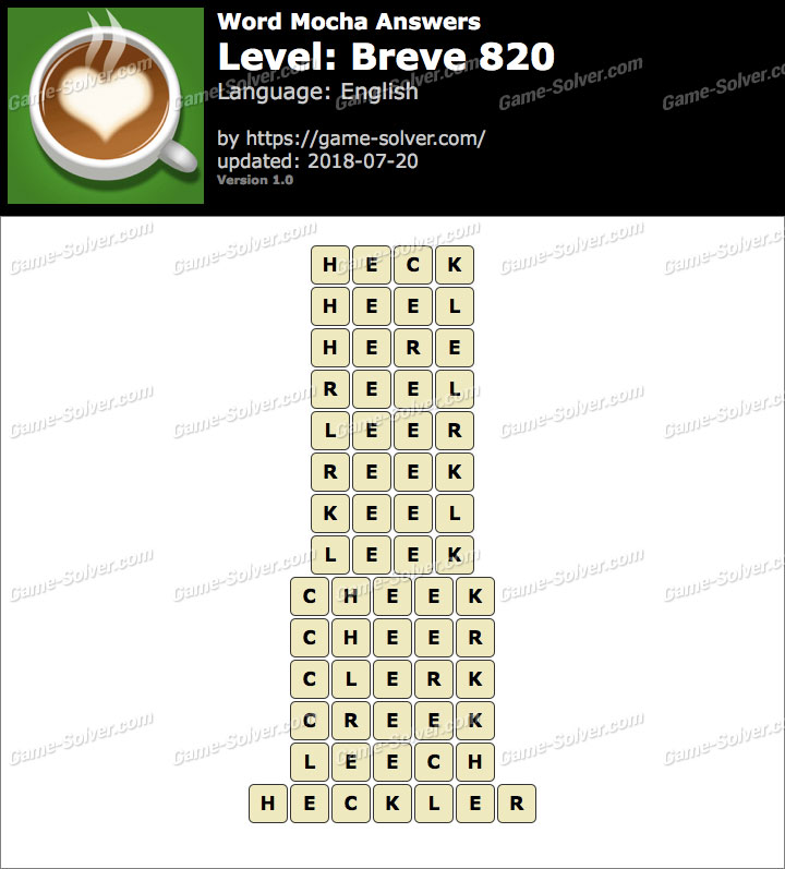 Word Mocha Breve 820 Answers