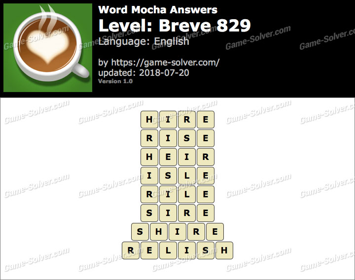 Word Mocha Breve 829 Answers