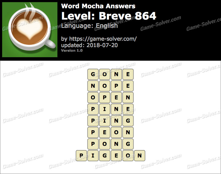 Word Mocha Breve 864 Answers
