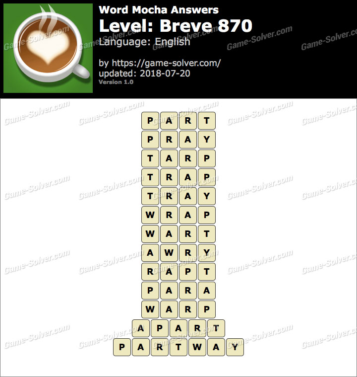 Word Mocha Breve 870 Answers