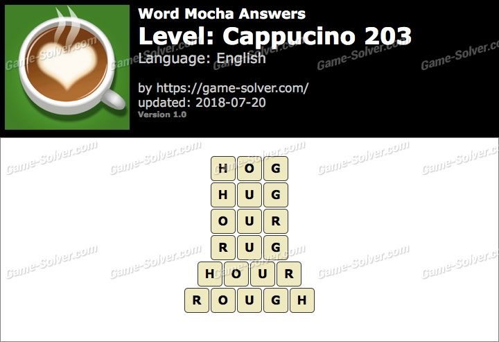 Word Mocha Cappucino 203 Answers