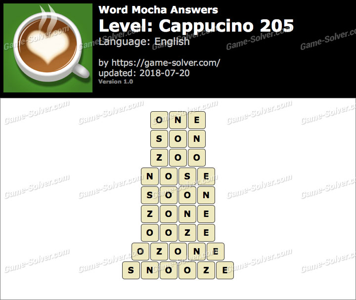 Word Mocha Cappucino 205 Answers