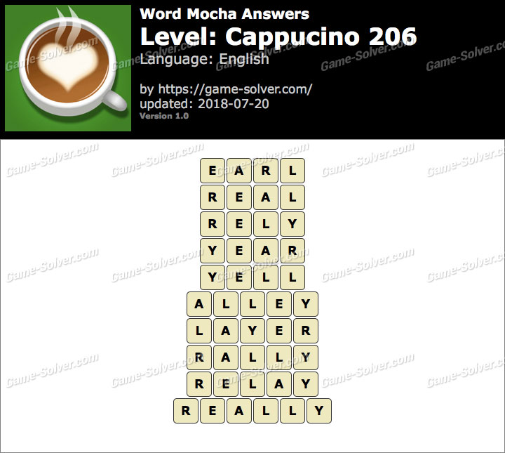 Word Mocha Cappucino 206 Answers