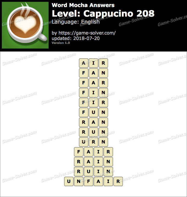 Word Mocha Cappucino 208 Answers