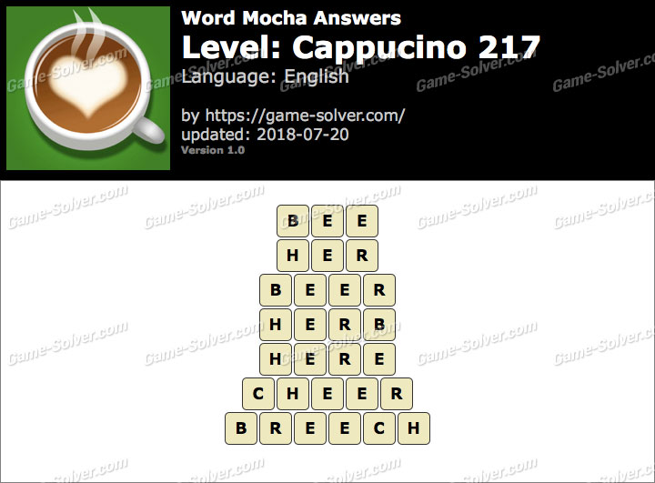 Word Mocha Cappucino 217 Answers