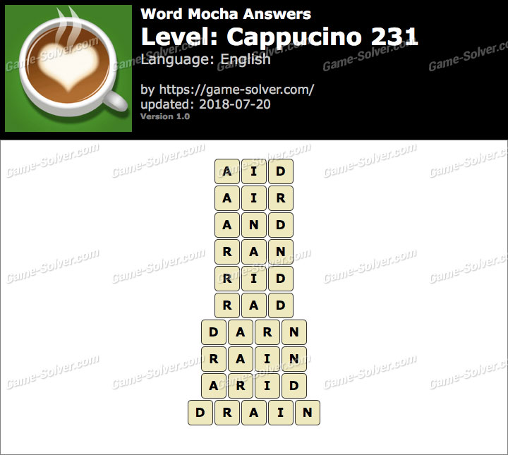 Word Mocha Cappucino 231 Answers