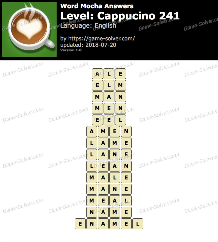 Word Mocha Cappucino 241 Answers