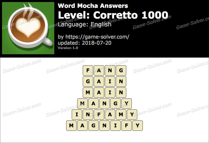 Word Mocha Corretto 1000 Answers
