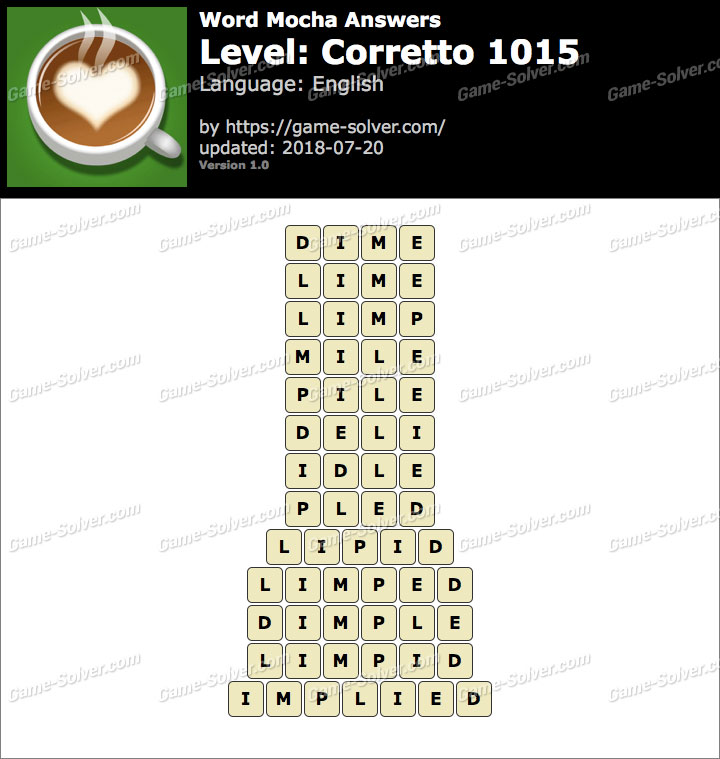 Word Mocha Corretto 1015 Answers