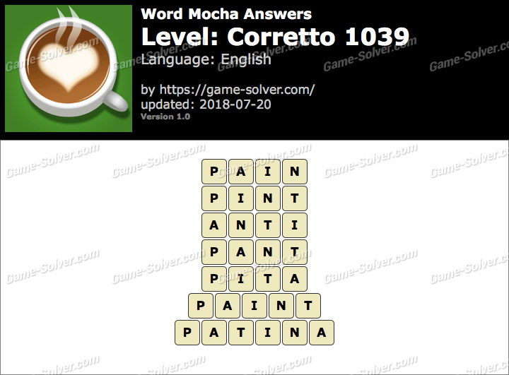 Word Mocha Corretto 1039 Answers