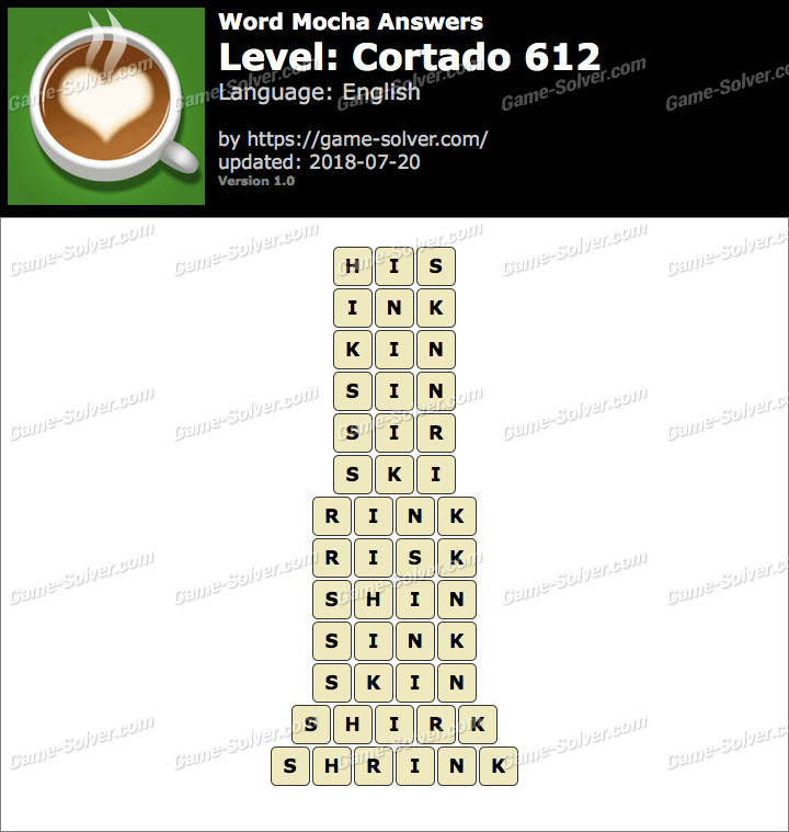 Word Mocha Cortado 612 Answers