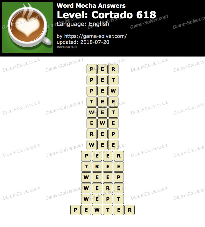 Word Mocha Cortado 618 Answers