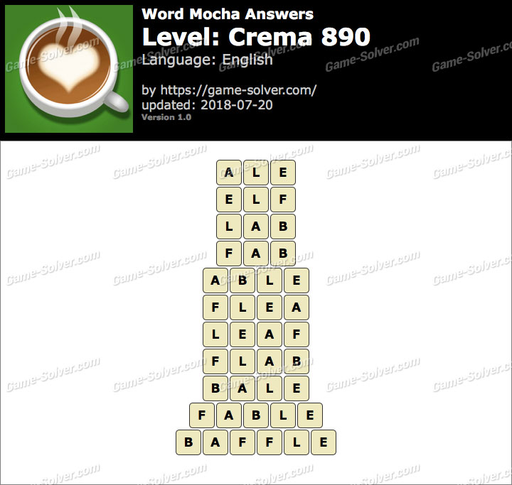 Word Mocha Crema 890 Answers