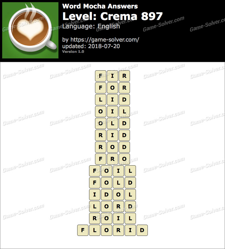 Word Mocha Crema 897 Answers