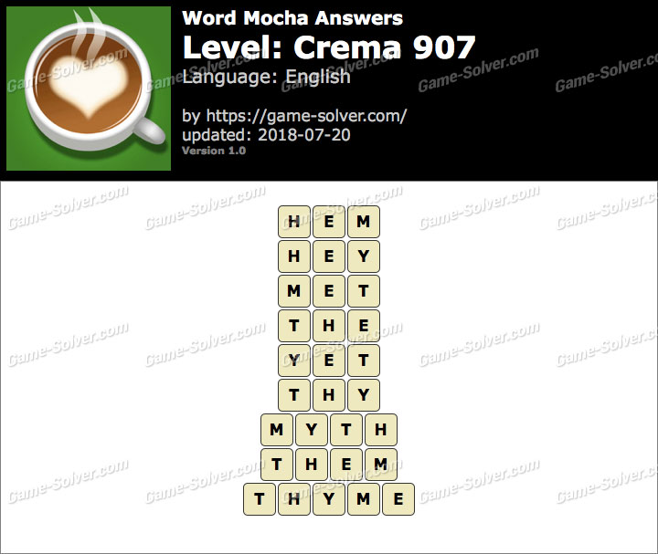 Word Mocha Crema 907 Answers
