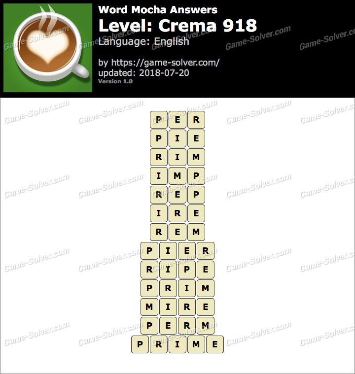 Word Mocha Crema 918 Answers