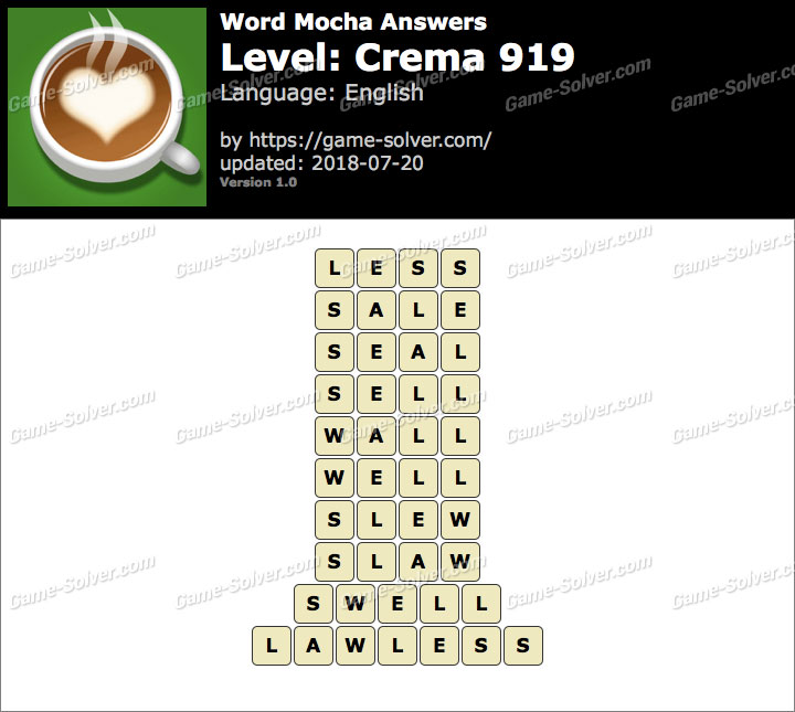 Word Mocha Crema 919 Answers
