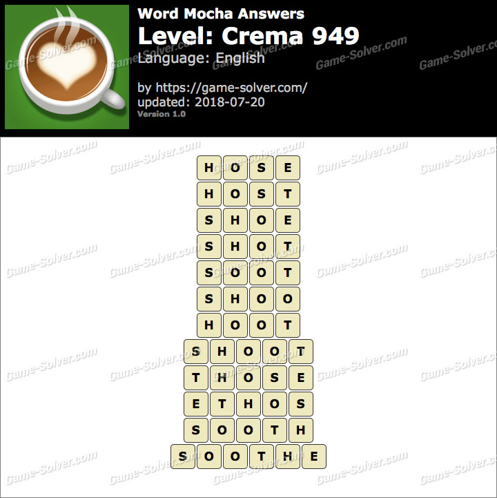 Word Mocha Crema 949 Answers