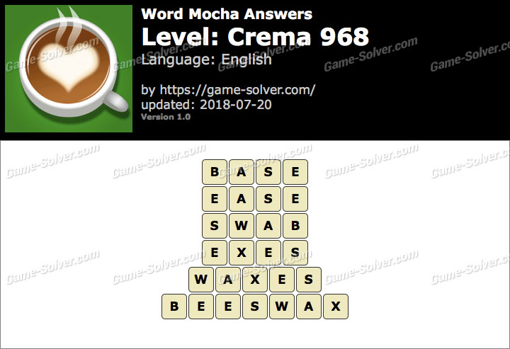 Word Mocha Crema 968 Answers