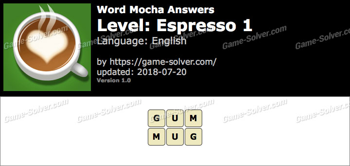 Word Mocha Espresso 1 Answers