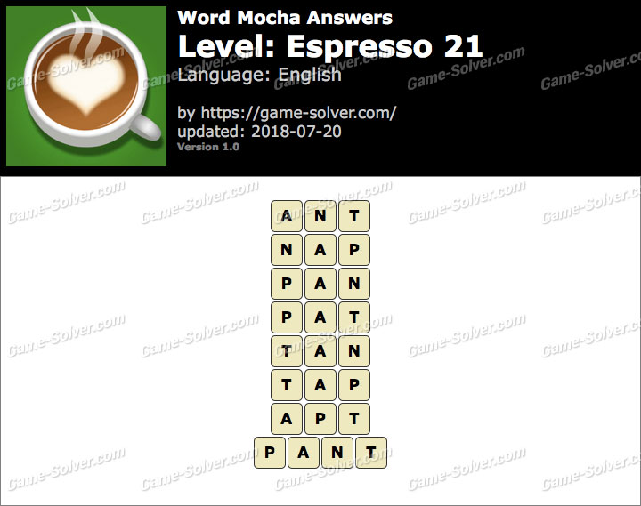 Word Mocha Espresso 21 Answers