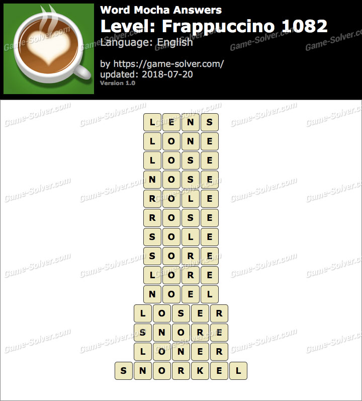 Word Mocha Frappuccino 1082 Answers
