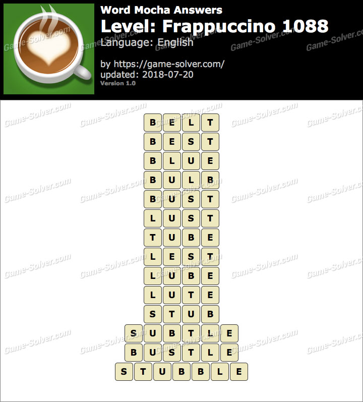 Word Mocha Frappuccino 1088 Answers