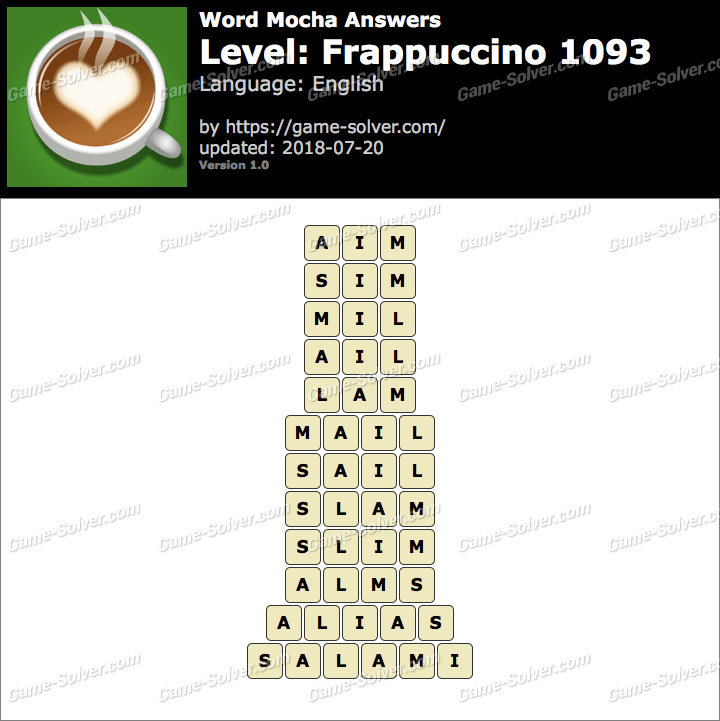 Word Mocha Frappuccino 1093 Answers