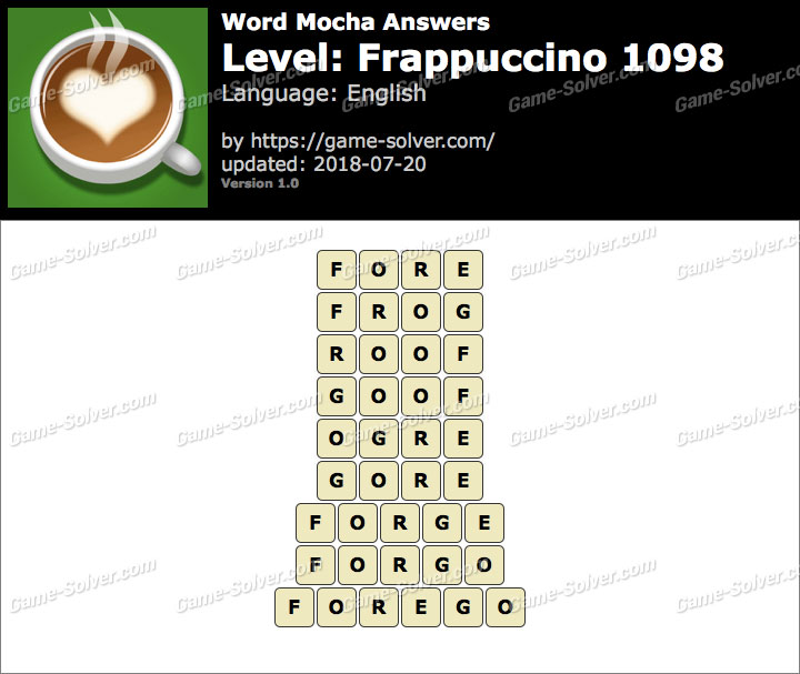 Word Mocha Frappuccino 1098 Answers
