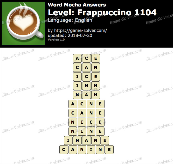 Word Mocha Frappuccino 1104 Answers