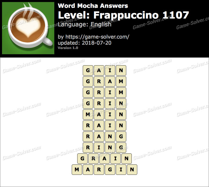 Word Mocha Frappuccino 1107 Answers