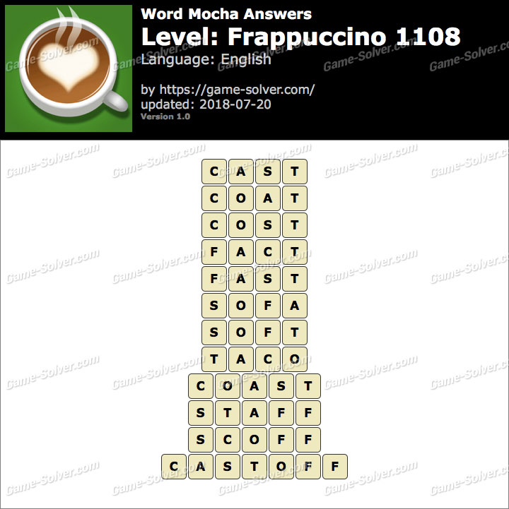 Word Mocha Frappuccino 1108 Answers