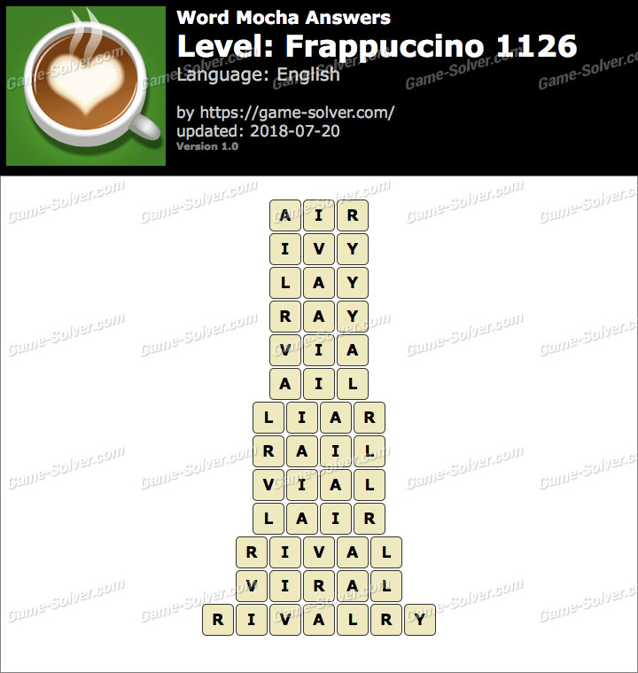 Word Mocha Frappuccino 1126 Answers