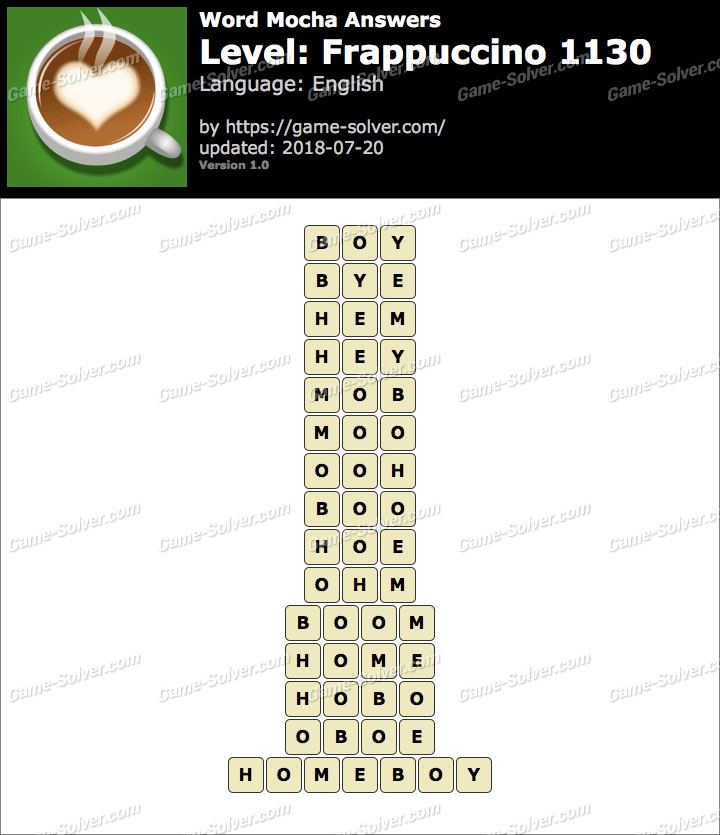 Word Mocha Frappuccino 1130 Answers