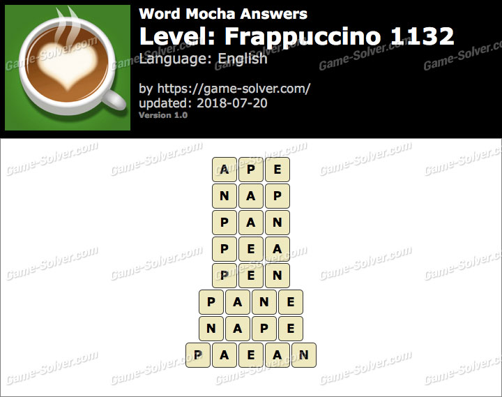 Word Mocha Frappuccino 1132 Answers
